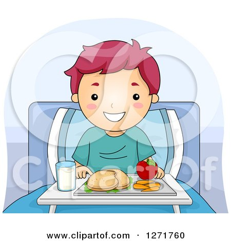 Clipart of a Happy Purple Haired White Boy with a Meal in a Hospital Bed - Royalty Free Vector Illustration by BNP Design Studio