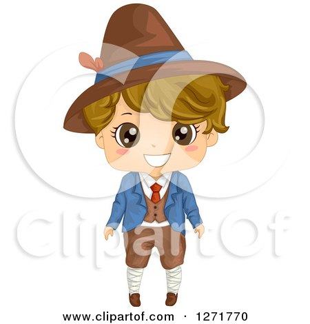 Clipart of a Happy Italian Boy in Traditional Clothes - Royalty Free Vector Illustration by BNP Design Studio