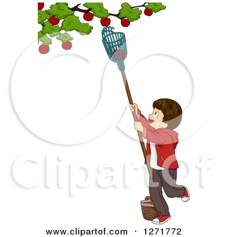 Clipart of a Brunette White Boy Using a Fruit Picker to Remove Apples from a Tree - Royalty Free Vector Illustration by BNP Design Studio