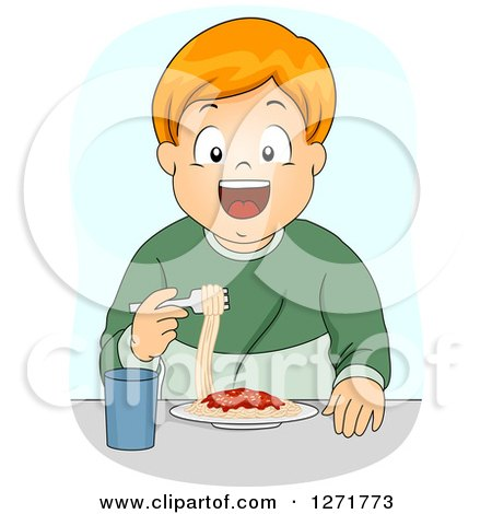 Clipart of a Happy Red Haired White Boy Eating Spaghetti - Royalty Free Vector Illustration by BNP Design Studio