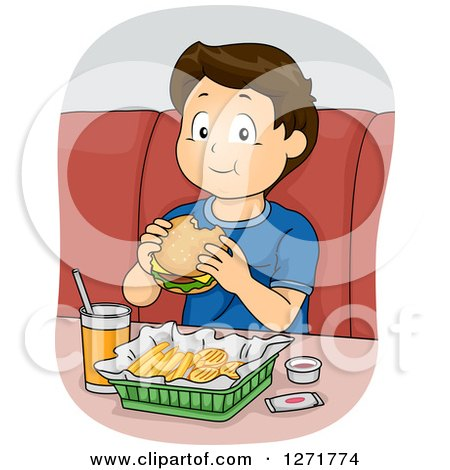 Clipart of a Happy Blond Haired White Boy Eating a Cheeseburger and Fries - Royalty Free Vector Illustration by BNP Design Studio