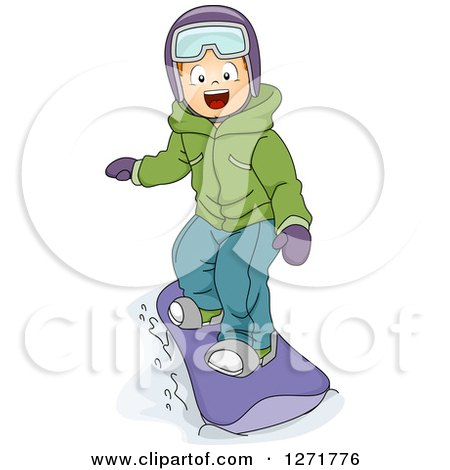 Clipart of a Happy White Boy Snowboarding - Royalty Free Vector Illustration by BNP Design Studio