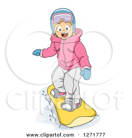 Clipart of a Happy Blond White Girl Snowboarding - Royalty Free Vector Illustration by BNP Design Studio