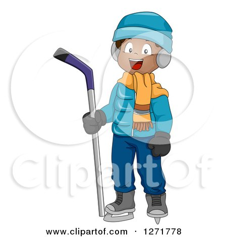 Clipart of a Happy Black Boy with an Ice Hockey Stick - Royalty Free Vector Illustration by BNP Design Studio