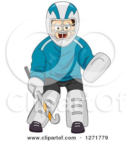 Clipart of a Brunette White Field Hockey Goalie - Royalty Free Vector Illustration by BNP Design Studio