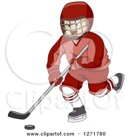 Clipart of a Blond White Ice Hockey Player Boy in Action - Royalty Free Vector Illustration by BNP Design Studio