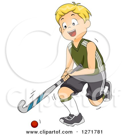Clipart of a Blond White Field Hockey Player Boy in Action - Royalty Free Vector Illustration by BNP Design Studio