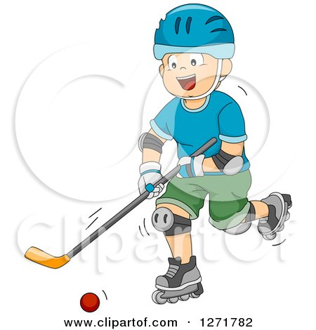 Clipart of a Happy White Boy Playing Roller Hockey - Royalty Free Vector Illustration by BNP Design Studio