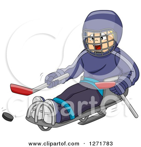 Clipart of a Disabled Blond White Boy Playing Sledge Hockey - Royalty Free Vector Illustration by BNP Design Studio