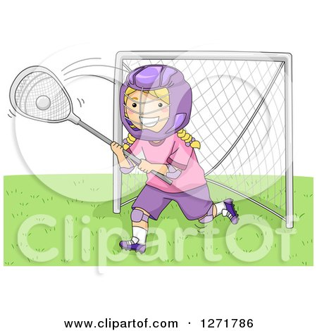 Clipart of a Blond White Lacrosse Player Goalie Girl in Action - Royalty Free Vector Illustration by BNP Design Studio
