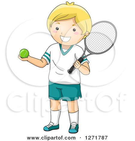 Clipart of a Happy Blond White Tennis Player Boy - Royalty Free Vector Illustration by BNP Design Studio
