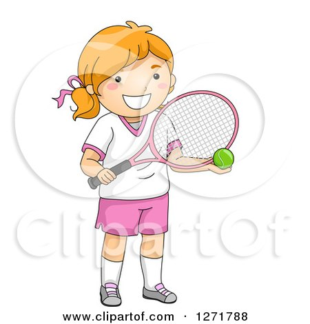 Clipart of a Red Haired White Tennis Player Girl Holding a Ball and Racket - Royalty Free Vector Illustration by BNP Design Studio