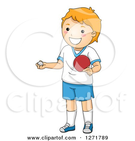 Clipart of a Red Haired White Table Tennis Ping Pong Player Boy - Royalty Free Vector Illustration by BNP Design Studio