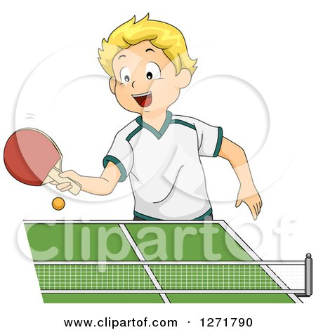 Clipart of a Happy Blond White Boy Playing Table Tennis - Royalty Free Vector Illustration by BNP Design Studio