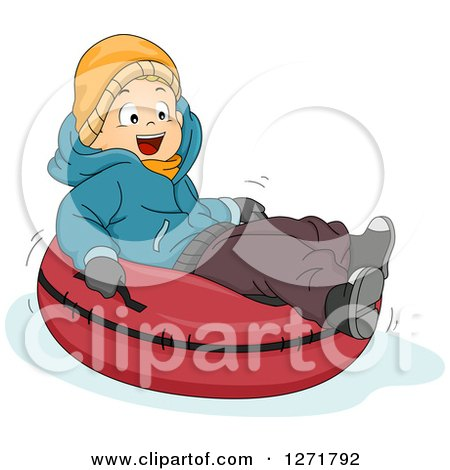 Clipart of a Happy Caucasian Boy Snow Tubing - Royalty Free Vector Illustration by BNP Design Studio