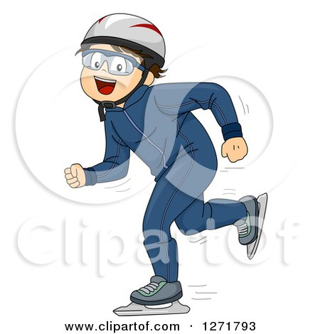Clipart of a Happy Brunette Caucasian Boy Speed Skating - Royalty Free Vector Illustration by BNP Design Studio