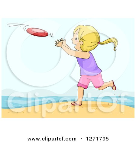 Clipart of a Playful Blond White Girl Catching a Frisbee on a Beach - Royalty Free Vector Illustration by BNP Design Studio