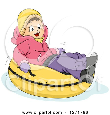 Clipart of a Happy Brunette Caucasian Girl Snow Tubing - Royalty Free Vector Illustration by BNP Design Studio