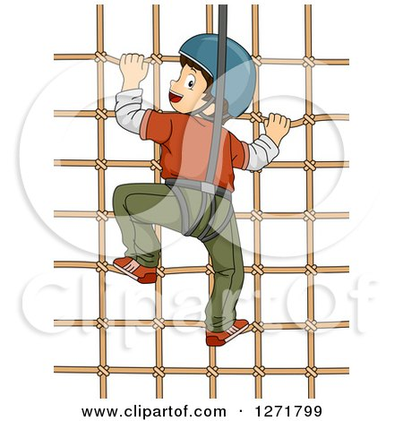 Clipart of a Brunette White Boy Climbing a Net Wall and Looking Back - Royalty Free Vector Illustration by BNP Design Studio
