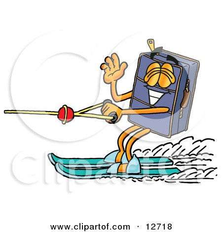 Clipart Picture of a Suitcase Cartoon Character Waving While Water Skiing by Toons4Biz