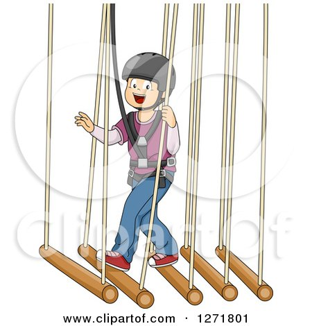 Happy White Boy in a Safety Harness, Crossing a Suspended Bamboo Bridge Posters, Art Prints