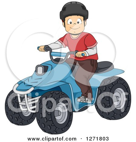 Clipart of a Happy Brunette White Boy Riding an ATV Quad - Royalty Free Vector Illustration by BNP Design Studio