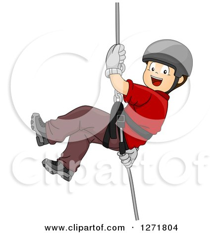 Clipart of a Happy Brunette White Boy Rapelling down an Invisible Wall - Royalty Free Vector Illustration by BNP Design Studio