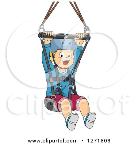 Clipart of a Happy Blond White Boy Ziplining - Royalty Free Vector Illustration by BNP Design Studio