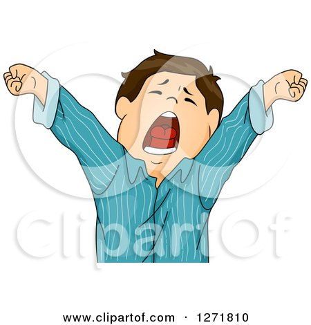 Clipart of a Tired Brunette White Boy Stretching and Yawning in Pjs - Royalty Free Vector Illustration by BNP Design Studio