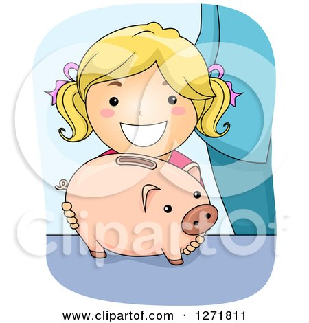 Clipart of a Happy Blond White Girl with a Piggy Bank - Royalty Free Vector Illustration by BNP Design Studio