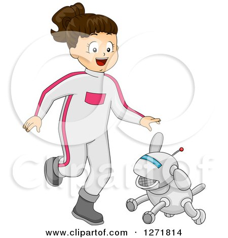 Clipart of a Happy Brunette Futuristic White Girl Playing with a Robot Dog - Royalty Free Vector Illustration by BNP Design Studio
