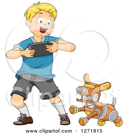 Clipart of a Happy Blond White Boy Controlling a Robot Dog - Royalty Free Vector Illustration by BNP Design Studio