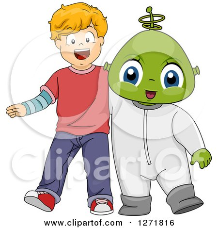 Clipart of a Happy Blond Caucasian Boy with an Alien Friend - Royalty Free Vector Illustration by BNP Design Studio