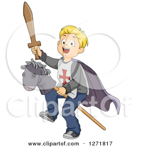 Clipart of a Happy Blond Caucasian Boy Knight Riding a Stick Pony - Royalty Free Vector Illustration by BNP Design Studio
