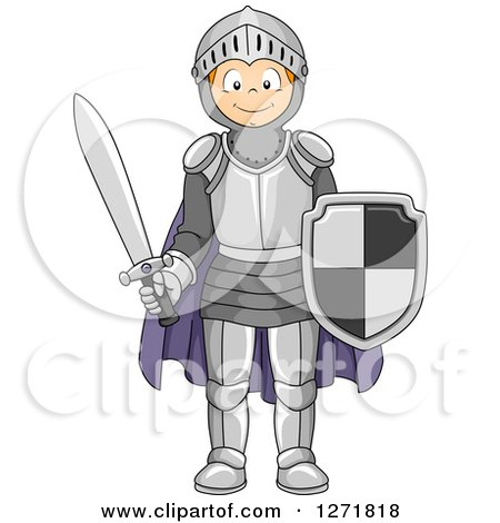 Clipart of a Happy Red Haired Caucasian Boy in a Knight Costume - Royalty Free Vector Illustration by BNP Design Studio