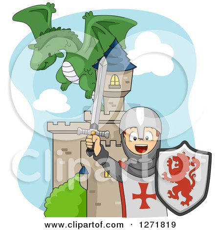 Clipart of a Dragon Flying over a Cheering Caucasian Knight Boy and a Castle - Royalty Free Vector Illustration by BNP Design Studio