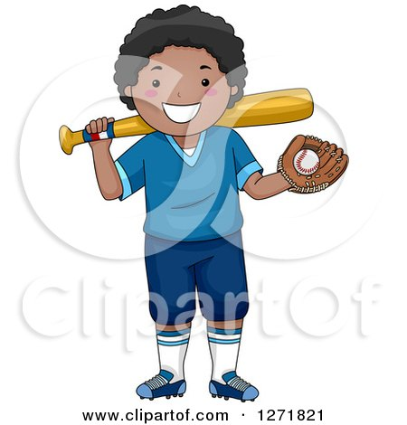 Clipart Of A Happy Black Boy Smiling With A Baseball And Glove In Hand And A Bat On His Shoulder Royalty Free Vector Illustration