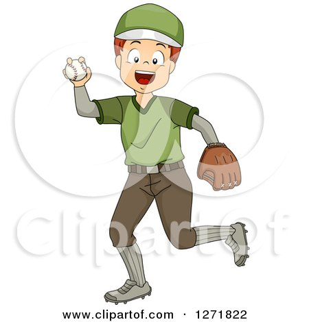 Clipart of a Happy White Boy Pitching a Baseball - Royalty Free Vector Illustration by BNP Design Studio