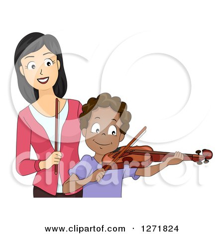 Clipart Of A Happy Asian Female Music Teacher And A Black Male Student Playing A Violin Royalty Free Vector Illustration