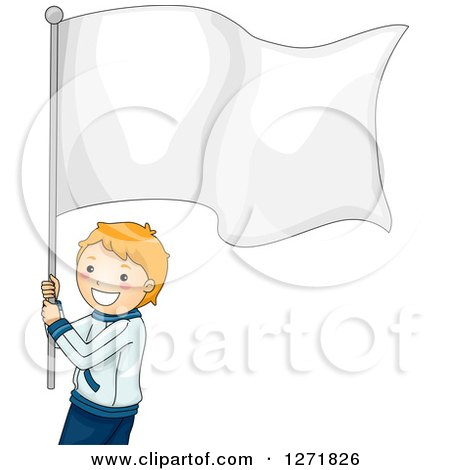 Clipart of a Red Haired White Boy Athlete with a Blank White Flag - Royalty Free Vector Illustration by BNP Design Studio