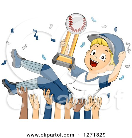 Clipart of a Blond White Baseball Player Boy Holding a Trophy and Being Carried by His Team - Royalty Free Vector Illustration by BNP Design Studio