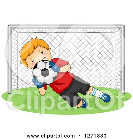 Clipart of a Red Haired White Soccer Player Goalie Blocking a Ball - Royalty Free Vector Illustration by BNP Design Studio