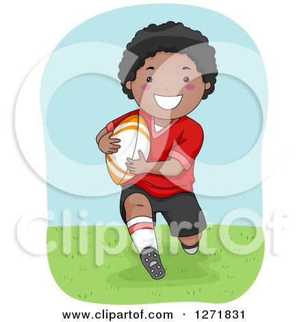 Clipart of a Happy Black Boy Playing Rugby - Royalty Free Vector Illustration by BNP Design Studio