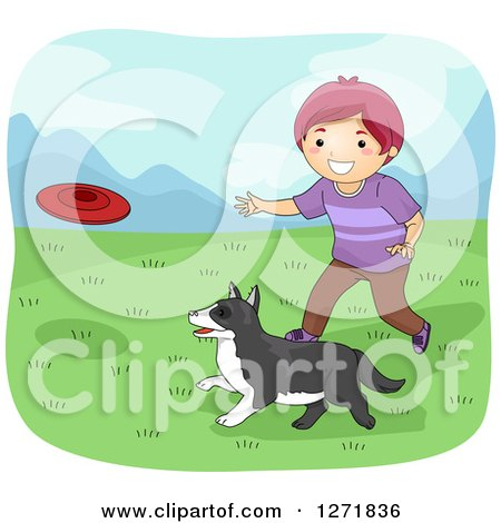 Clipart of a Purple Haired White Boy Throwing a Frisbee for His Dog - Royalty Free Vector Illustration by BNP Design Studio
