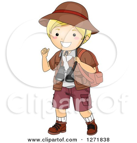 Clipart of a Blond White Safari Boy Gesturing over His Shoulder - Royalty Free Vector Illustration by BNP Design Studio