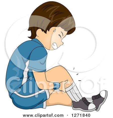 Clipart of a Brunette White Boy Holding His Cramping Leg - Royalty Free Vector Illustration by BNP Design Studio