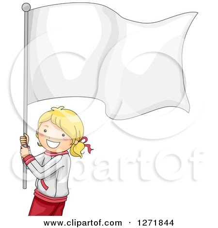 Clipart of a Happy Blond Sporty Girl with a Blank Flag - Royalty Free Vector Illustration by BNP Design Studio