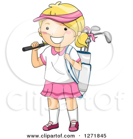 Clipart of a Happy Blond White Girl with a Golf Bag - Royalty Free Vector Illustration by BNP Design Studio