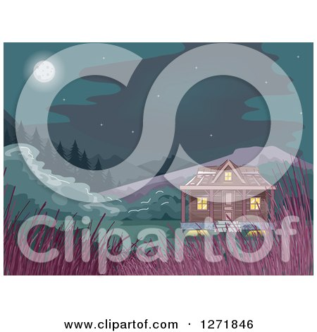 Clipart of a Cabin in the Woods with Tall Grasses and a Full Moon - Royalty Free Vector Illustration by BNP Design Studio