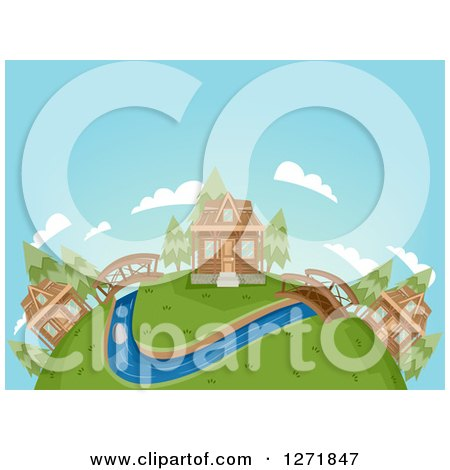 Clipart of a Globe with a Cabin Village, Bridges and a River - Royalty Free Vector Illustration by BNP Design Studio